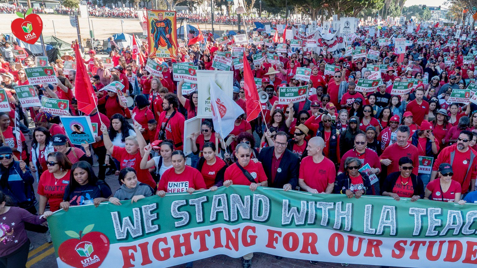 Teachers march through LA