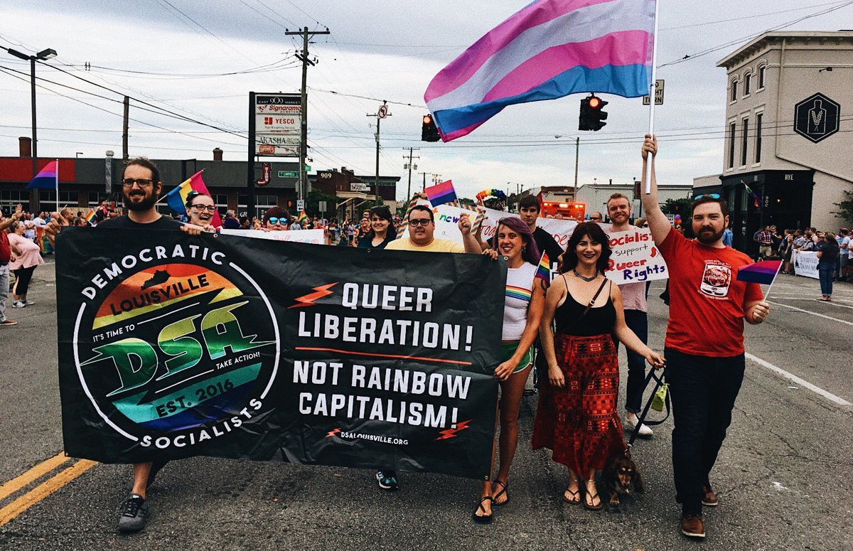 Louisville DSA marches for queer liberation at the 2018 Louisville Pride Parade