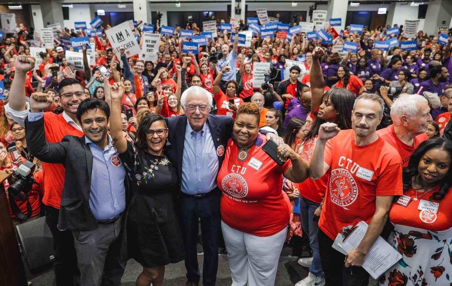 Bernie at a CTU rally with Chicago DSA's City Council members