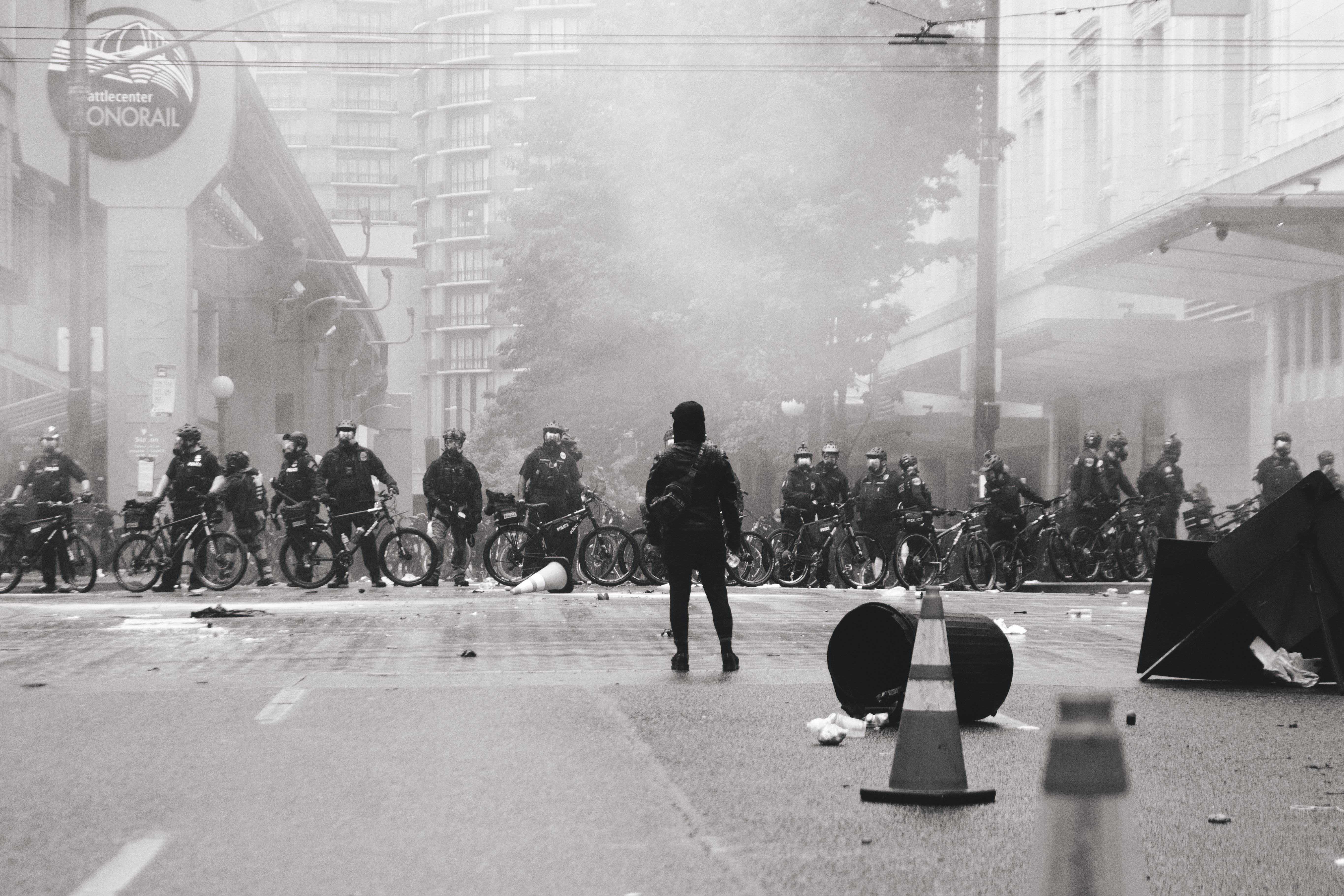Demonstrator in standoff with Seattle police