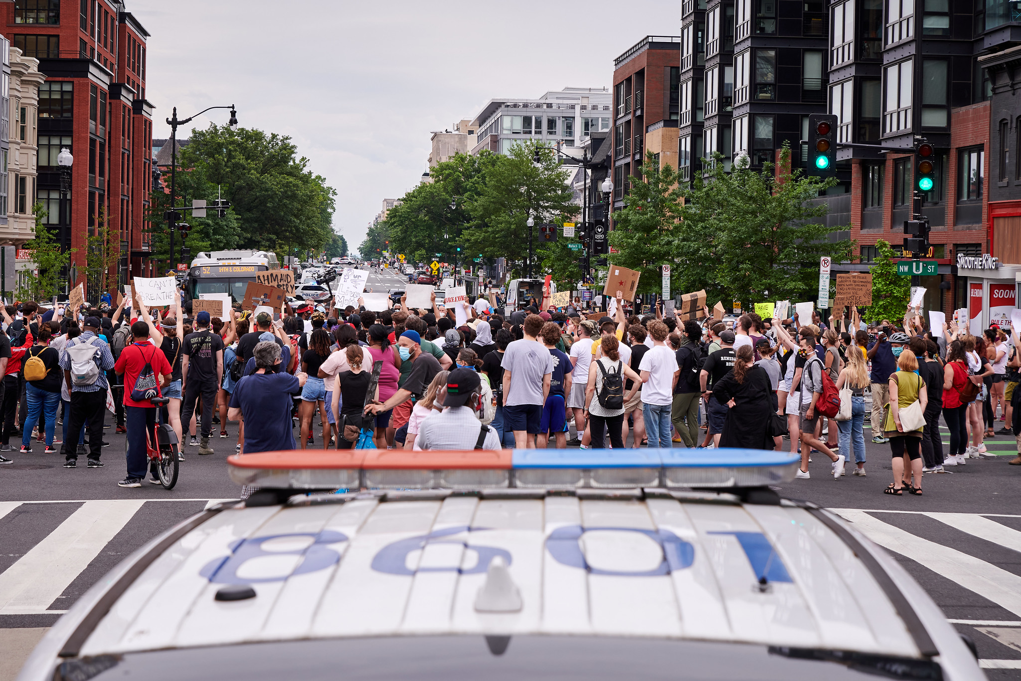 Demonstrators protest the police murder of George Floyd in Washington, D.C.