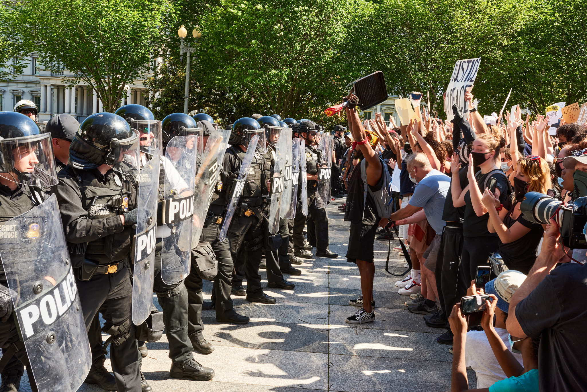 Police and protesters in a standoff in Washington, D.C.