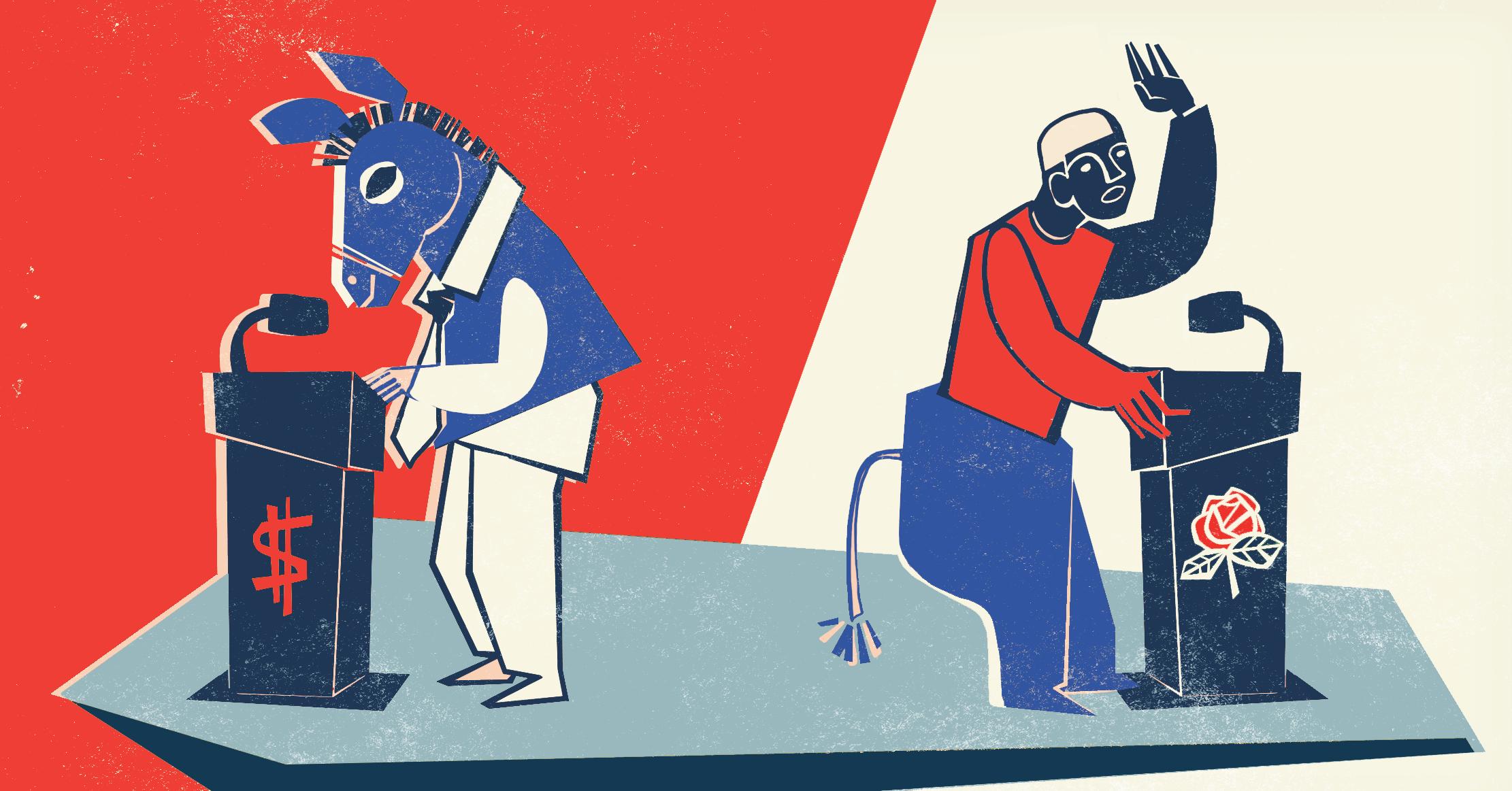 Illustration of a Democratic debate