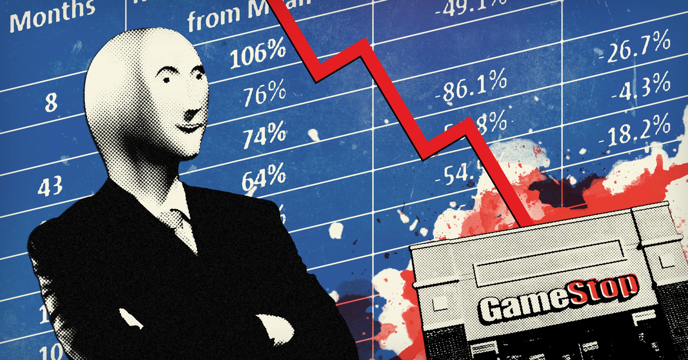 Illustration of GameStop stock price falling